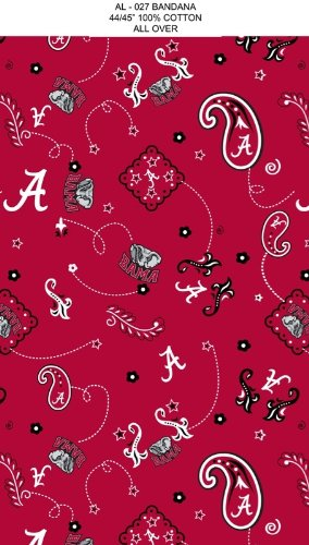Sykel Enterprises ET-424 Collegiate Cotton Broadcloth University of Alabama Bandana Fabric by The Yard, Red