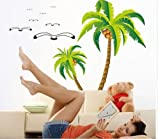2017 Coconut palm tree Home bedroom Decor Removable Wall Sticker Decal Art Mural
