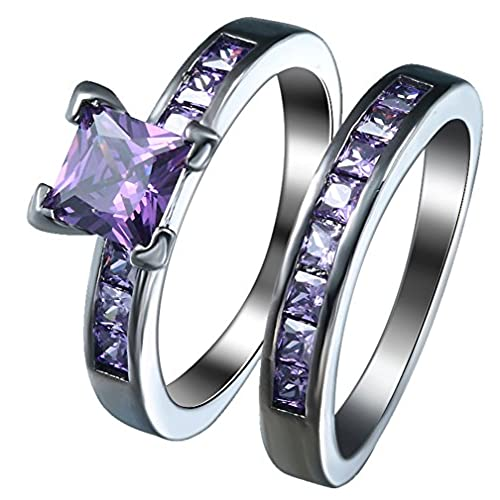 bigood royal purple square crystal cz wedding rings set in 18k stainless steel 7 - Purple Wedding Ring