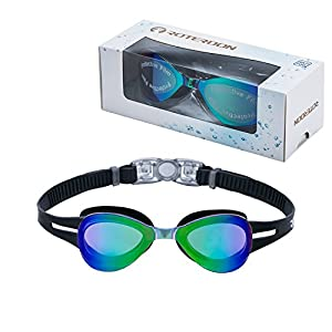 Kids Swimming Goggle Mirrored UV Protective, Anti Fog Colorful Funny Goggles Best Choose For Youth Juniors Children As Swimming Equipment From Online Amazon Store Roterdon (Black)