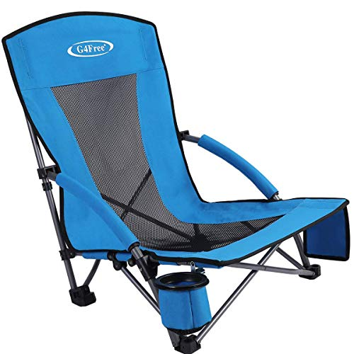 (G4Free Low Sling Beach Chair Outdoor Camping Concert Folding Chair with Cup Holder and Matching Storage Pouch (Blue))