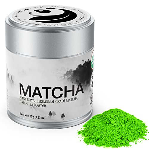 FONY Ceremonial Grade Matcha Green Tea Powder - Japanese, USDA Organic Certified - Boosts Metabolism and Burns Calories Antioxidants Rich Superfood. (Royal, 35g)