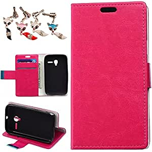 Para Alcatel One Touch Funda, Mobilefashion Patrón de Crazy Horse Funda de PU Cuero Case para Alcatel One Touch 4009 (Rose) Con Soporte Plegable y Ranura para tarjeta + 1x Color al azar gratis tapón de polvo