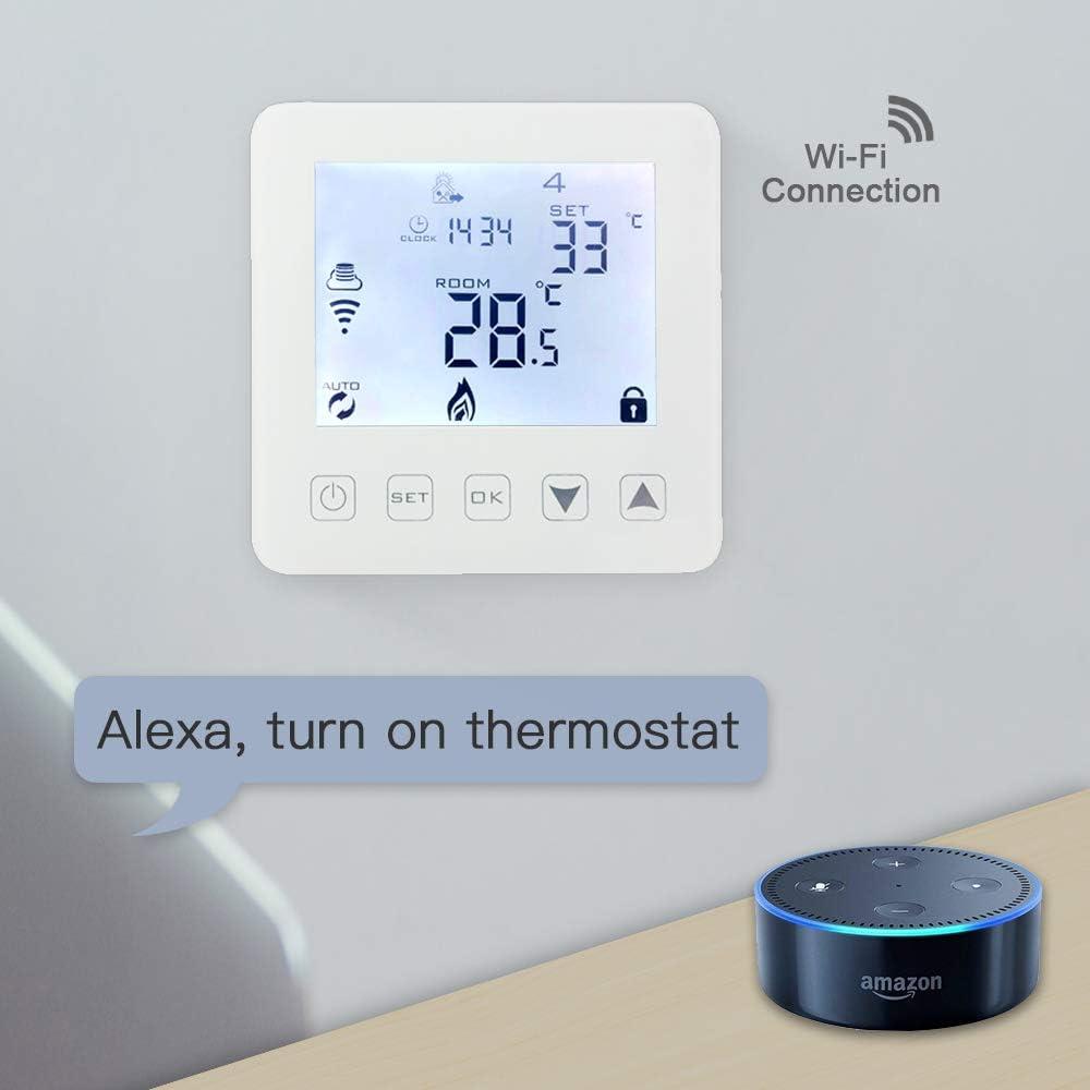 aixi-SHS thermostat Wi-Fi plancher chauffage de leau et Chaudi/ère /à gaz chauffage LED /écran tactile Tempeature TuyaSmart//Smart Life APP Control Compatible with  Alexa Echo//Google Home//IFTTT