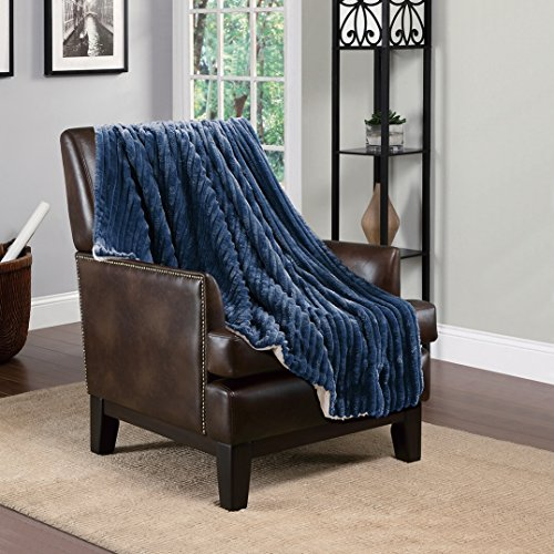 "60""W-80""L Throw 3d Jacquard Navy,Micromink Flannel Reserv..."