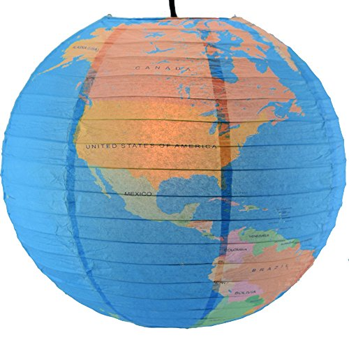 Quasimoon PaperLanternStore.com 14 Inch Geographical World Map Earth Globe Paper Lantern ()