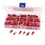 eDealMax 180pcs Rouge isolé furcate Bornes de fourches Câble Lug AWG10-22 Set Kit