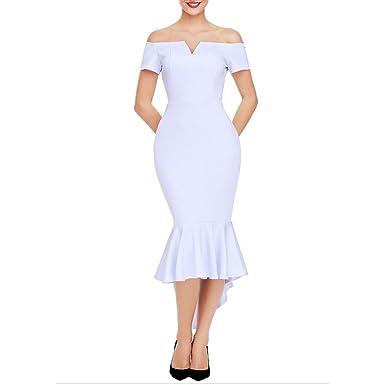 Robe de Femme 2018 Style Classique Fishtail Jupe Robes Hors épaule col V  Pure Color Manches cc921f0c4610