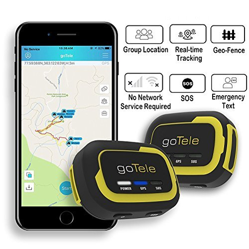 goTele Offline Outdoor Real Time GPS Tracker for Exploration Camping Climbing Skiing and Pets,Max 30 Members GPS location SMS SOS,No SIM card network required (2 Pack)