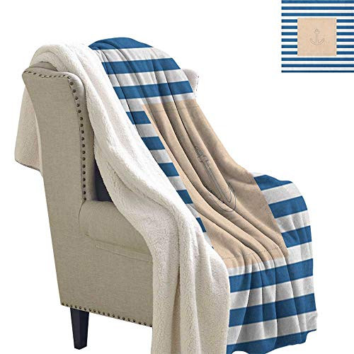 Suchashome Harbour Stripe Fleece Blanket Maritime Anchor Figure Over Pastel Nautical Lines Ocean Design Blanket Small Quilt 60x78 Inch Violet Blue Peach White ()