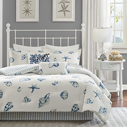 3 Piece Beach Seashell Design Comforter Set Twin Size, Sea Shell Starfish Clam Print Motif Bedding, Shoreline Coastal Ocean Summer Themed, Vibrant Beachy Bayside Nautical Bedroom, Blue, (Bayside Twin Bed)