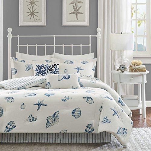 3 Piece Beach Seashell Design Comforter Set King Size, Sea ...