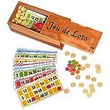 Lotoquine - Lo74 - Jeu de Loto Coffret en Bois ( 48 Cartons+ 90 Jetons + 100 Pions )