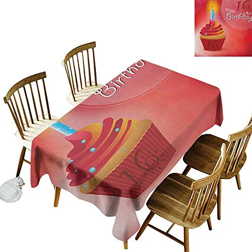 (Hall Rectangular Tablecloth W54 x L90 16th Birthday Little Cupcake with Candlestick Greeting Message Romantic Print Red Orange and Blue Suitable for Party Outdoors Farmhouse Coffee Shop Restaurant)