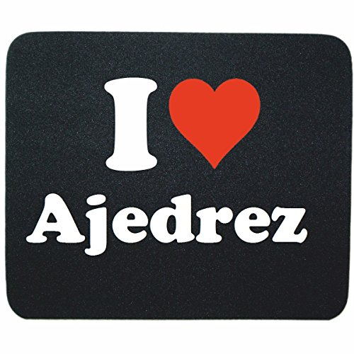 """Price comparison product image EXKLUSIV: Mousepad """"I Love Ajedrez"""" in Black, a great gift idea for your partner, colleagues and many more!"""