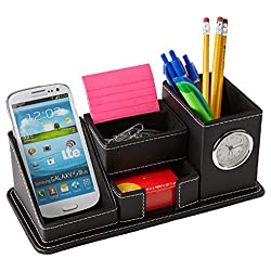Mind Reader Desk Supplies Organizer with Clock, 5 Compartment, Faux Leather, Black