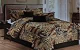 Legacy Decor 8pc Multi Animal Print Black, Brown, Tan Micro Fur Comforter Set with Curtains Included, California King Comforter Set