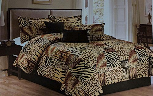 7 Pc Multi Animal Print Black, Brown, Tan Microfur Comforter Set. King Size Comforter Set (Animal Print Comforter Sets King)