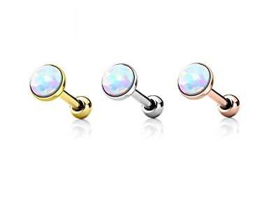 85b9121db Amazon.com: Set of 3 White Opal Bezel Set Flat Top Cartilage/Tragus Barbells  in 316L Surgical Steel: Jewelry
