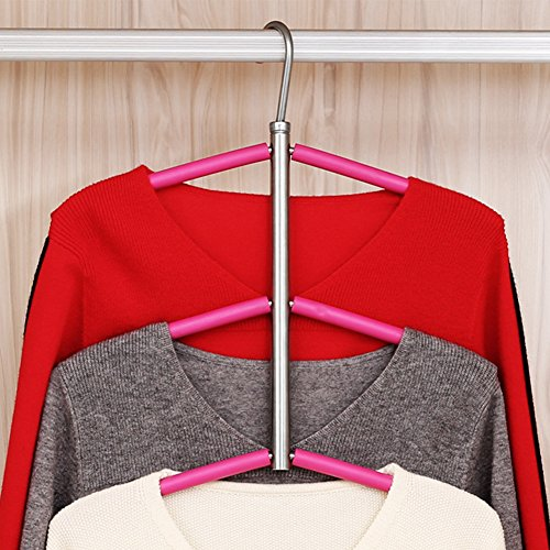 Amyove Clothes Hanger 3/5 Layers Anti-slip Stainless Steel Sweater Shirt Hanging Clothes Hanger Clothing Storage Space Saver Fishbone stainless steel hanger; 3 layers with silicone - Fishbone Cover