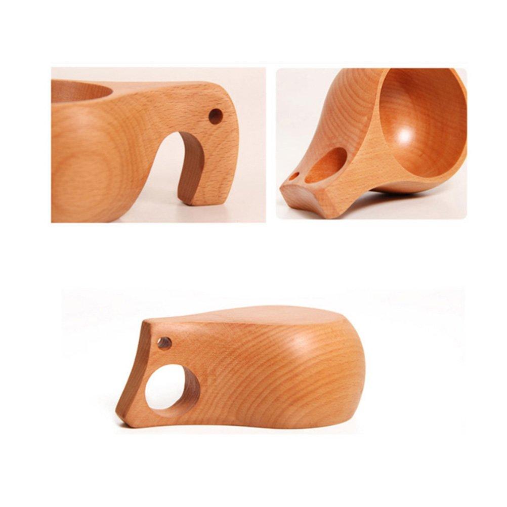 nariz del elefante BESTONZON Taza de caf/é protecci/ón de la taza y de t/é del medio ambiente taza de caf/é port/átil de madera hecha a mano del estilo de Kuksa
