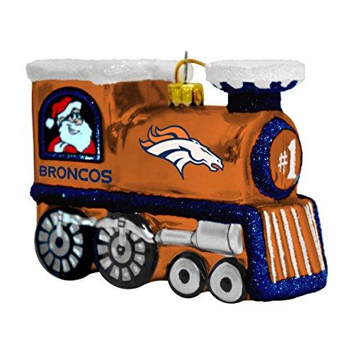 Broncos Blown Glass Train Ornament