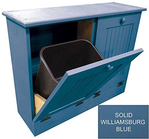 Sawdust City Dual Tilt-Out Wooden Waste Bin (Solid Williamsburg Blue)