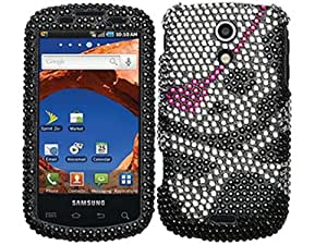 Black Skull Bling Rhinestone Faceplate Diamond Crystal Hard Skin Case Cover for Samsung Epic 4g SPH-D700