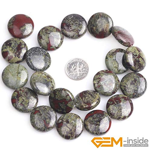 Calvas 20mm Coin Shape Flat Green Blood Stone Jaspers Gem Stone Beads for Jewelry Making Strand 15