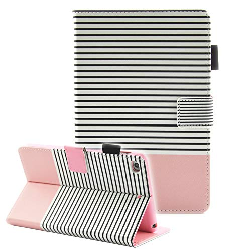 iPad Mini Case, iPad Mini 2 Case, iPad Mini 3 Case, iPad Mini 4 Case, Fvimi Multi-Angle Viewing Folio Smart Leather Cover with Auto Sleep/Wake Function for Apple iPad Mini 1/2/3/4, Pink Stripe (Ipad Mini Case With Smart Cover Function)
