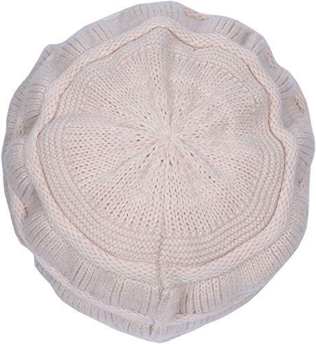 9d41f09bfaa Yuhan Pretty Women s Wool Knit Winter Hat Warm Plush Lined Snow Ski Visor  Caps (Beige) at Amazon Women s Clothing store