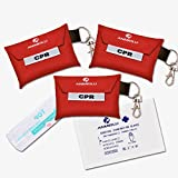 CPR Mask Keychain,Medical CPR Rescue Mask,Ever Ready First Aid CPR Mask Combo Kit,CPR One-Way Valve Mask and Nitrile exam Gloves Kit (Pack of 3) .ANMEILU