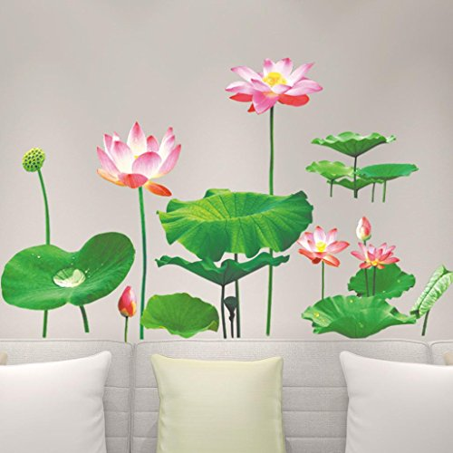 Coohole 1Pcs 3D Lotus Removable Vinyl Decal Art Mural Home Decor Wall Stickers