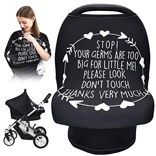 Baby Car Seat Cover, Nursing Covers Soft Breathable Stretchy Breastfeeding Scarf, No Touch Sign Infant Carseat Canopy Lightweight Cotton for Stroller, High Chair, Shopping Cart, Baby Shower Gift