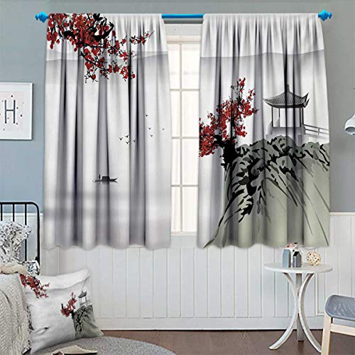 Anhounine Asian,Blackout Curtain,Asian River Scenery with Cherry Blossoms Boat Cultural Hints Mystical View Artsy,Room Darkening Curtains,Ruby Pale Grey,W72 x L63 inch