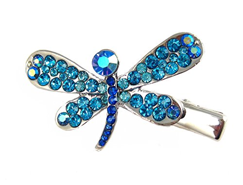 Crystal Dragonfly Hair Clip - Aqua (H82B)
