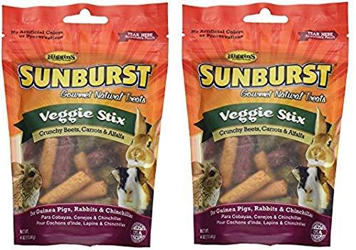 Higgins Sunburst Veggie Stix Gourmet Treats for Guinea Pigs, Rabbits & Chinchillas, 4 OZ (2 Pack) -