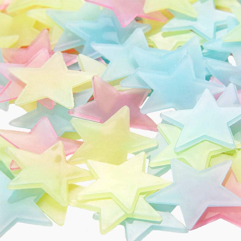 Luminous Fluorescent Plastic Wall Sticker Glow in The Dark Luminous Stars ZoneYan 1000 Pcs Star Luminous Sticker Colorful 3D Glow in The Dark Stars for Kids Room Bedroom Home D/écor