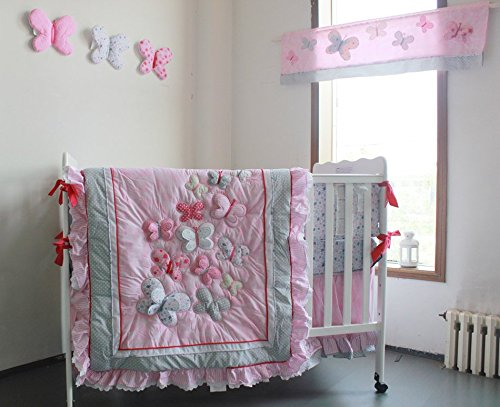 NAUGHTYBOSS Girl Baby Bedding Set Cotton 3D Embroidery Butterfly Flying Pattern Quilt Bumper Bed Skirt Mattress Cover Diaper Bag 8 Pieces Set Pink Color by NAUGHTYBOSS (Image #2)