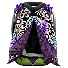 Onyx Arrow Carseat Canopy, Turquoise Silver Retro Flower Cotton Print, Purple Minky Dot, Mix and Match