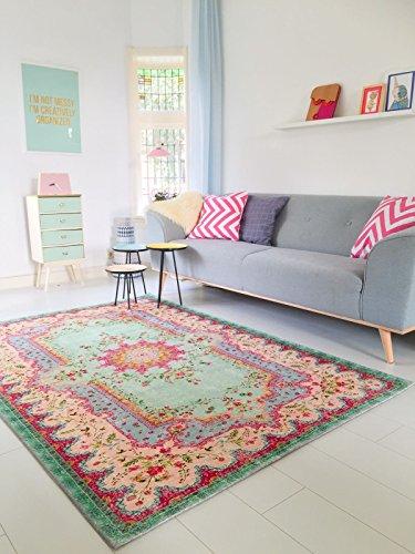 Pastell Vintage Teppich | im angesagten Shabby Chic Look | für Wohnzimmer, Schlafzimmer, Flur etc. | Pastell (230 x160 cm)