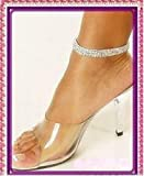 MONTCHERRY Golden/Silver/Multi Crystal Diamante Bridal/Proms/Parties Stretchable Anklet/PAYAL Foot Jewellery **HOT** Design Many Variation - 1 Anklet by Trendz (Silver Three Line)