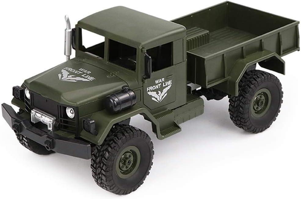 4WD de control remoto coche todoterreno 1/16 Escala alta de la simulación de camiones militares altos caballos de fuerza que transportan mercancías de alta velocidad coche teledirigido for los niños (