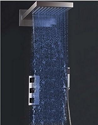 GOWE Chrome LED 3 Light Rain Waterfall Shower Faucet Set Wall Mount Thermostatic Mixer Valve Shower Mixer Tap W/ Handshower