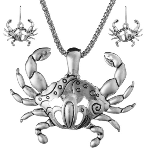Crab Pendant Necklace - Jewelry Nexus Cut out Design Crab Theme Textured Magnetic Function Pendant Necklace Set 18