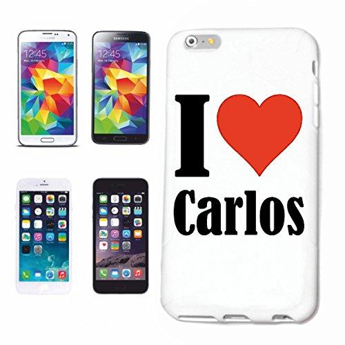 """Handyhülle iPhone 4 / 4S """"I Love Carlos"""" Hardcase Schutzhülle Handycover Smart Cover für Apple iPhone … in Weiß … Schlank und schön, das ist unser HardCase. Das Case wird mit einem Klick auf deinem Sm"""