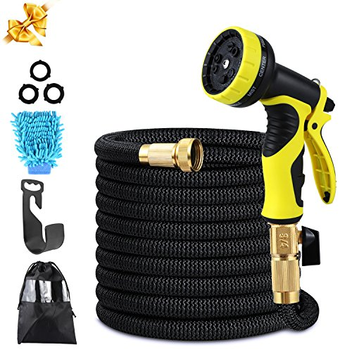 Pmty Expandable Garden Hose, 50FT Flexible Strongest Hose with Double Latex Core 3/4 Solid Brass Fittings Extra Strength Fabric-9 Functions Spray Nozzle for Home & Garden Washing Water Hose by Pmty