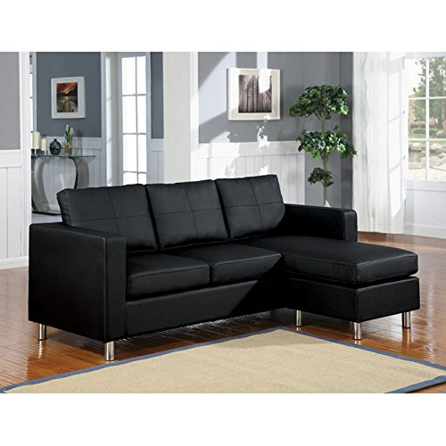 Custom Sectional Wood Frame - Right Facing Sectional Sofa, Modern-Contemporary Style, Clean-Lined and Foam-Padded Seat and Back Cushions, Sturdy Chrome Legs, Reversible Ottoman, Black + Expert Guide