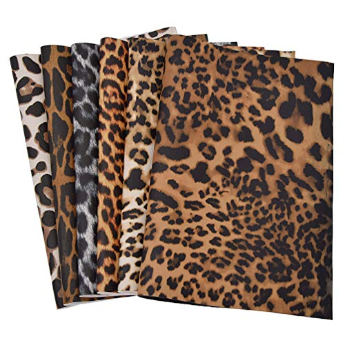 CHZIMADE A4 Size Leopard Printed Fabric Faux DIY Sheet Canvas Back Great for Hair Bows Making Craft (Leopard -Z)