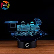 3D Optical Illusion Night Light - 7 LED Color Changing Lamp - Cool Soft Light Safe For Kids - Solution For Nightmares - Train